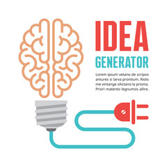 Human brain in light bulb vector illustration. Idea concept.