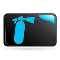 extincteur sur bouton web rectangle bleu