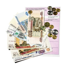 Invoice for payment with banknotes and coins