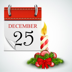25 December Opened Calendar With Candle