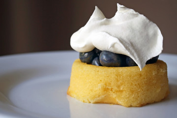 Fresh Blueberries On Shortcake With Whipped Cream