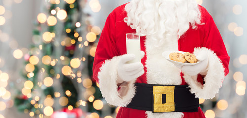 santa claus with glass of milk and cookies