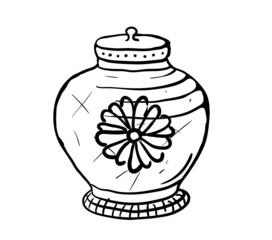 Sugar bowl, vector sketch illustration