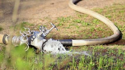 fire hose water flowing