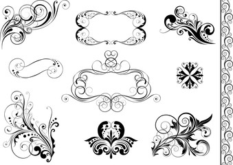 Set of swirl floral element and frame