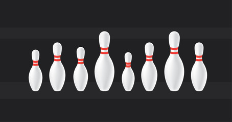 Bowling background. Skittles in a row.