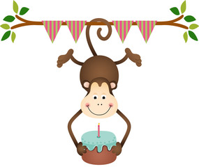 Hanging monkey holding a  birthday cake