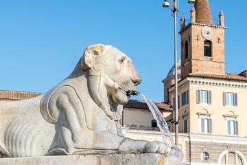Lion Fountain in Piazza del Popolo, Rome italy