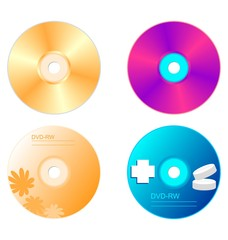 Realistic illustration set DVD disk