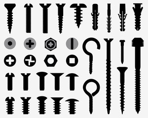 Silhouettes of wall plugs, bolts, nuts and screws