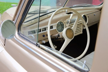 Steering wheel of an old car