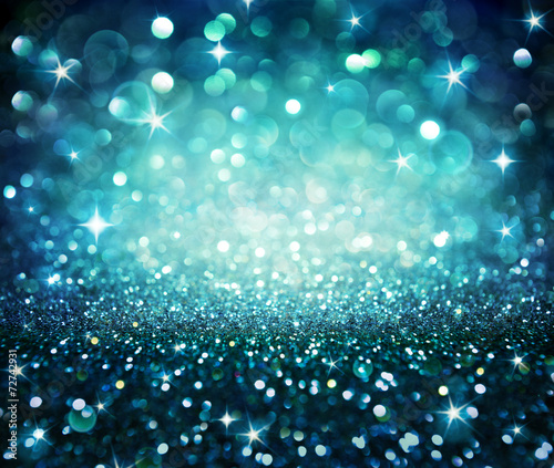 canvas print picture christmas background - shining glitter - blue