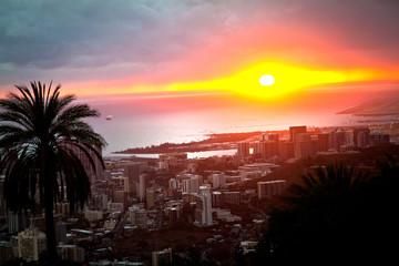 A colorful sunset over Waikiki on the island of Oahu, Hawaii