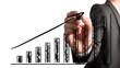 Businessman drawing an ascending bar graph