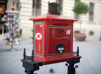 Old red mailbox in Budapest Hungary