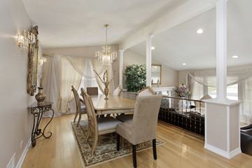 Dining room with living area below
