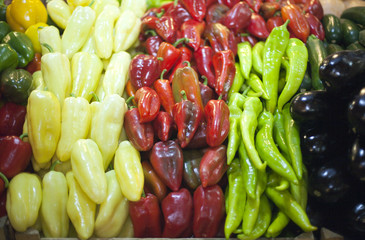 Peppers in raw at a farmers market