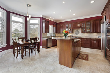Kitchen with maroon walls