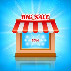Shop icon. Big sale, vector illustration
