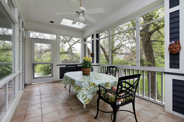 Porch in suburban home