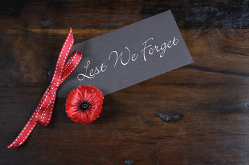 Lest We Forget Poppy Lapel Pin Badge