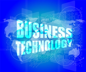 Management concept: business technology words on digital screen