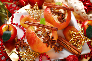 baked apples with cheese and raisins for christmas