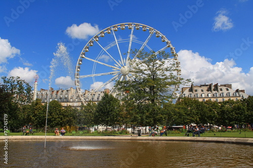 Grande roue de paris au jardin des tuileries stock photo for Plus grand jardin de paris