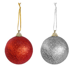 Red and silver Christmas baubles isolated over white background.