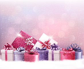 Christmas holiday background with presents. Vector.
