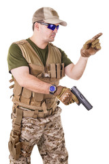 Soldier man holding his gun.