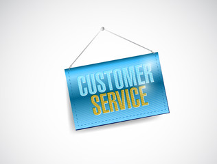 customer service hanging banner illustration
