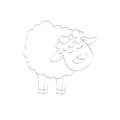 Contour of funny lamb - illustration, vector