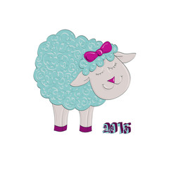 Funny blue lamb, symbol of year 2015, illustration, vector