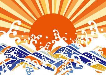 波_オレンジ_太陽
