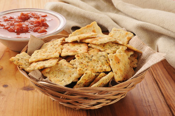 Crackers with salsa
