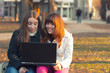 Two beautiful teenage girls having fun with notebook in the park