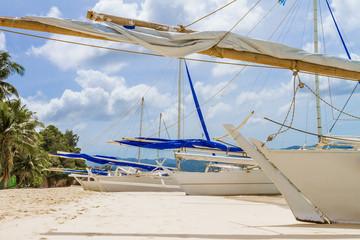 philippino-style wooden sail boat, boracay island, tropical summ