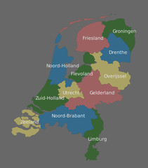 Highly detailed political Netherlands map
