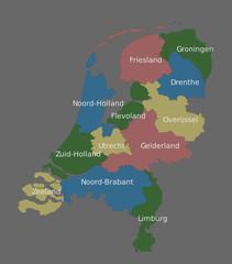 Highly detailed political Netherlands map