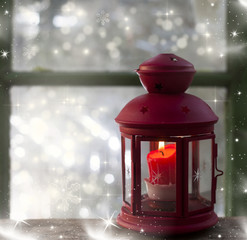 Christmas lantern in window