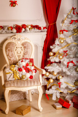 Christmas house interior new year decoration