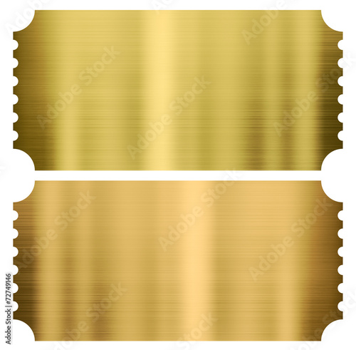 gold cinema or theather tickets set isolated - 72749146