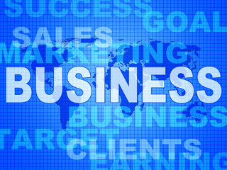 Business Words Shows Corporate Commerce And Buy