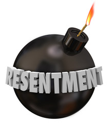 Resentment 3d Word Black Round Bomb Anger Bitter Grudge Feeling