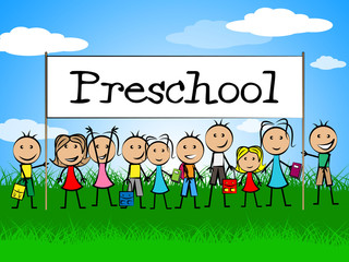 Preschool Kids Banner Represents Day Care And Child