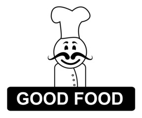 Good Food Chef Indicates Cooking In Kitchen And Competent