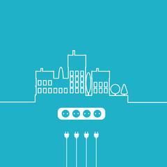 Concept electric circuit city. Vector flat design