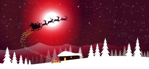 Sledge with Santa Claus at Christmas Night-vector