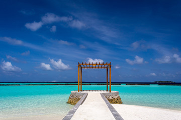 Gazebo made of wood at Maldives in front of Indian ocean